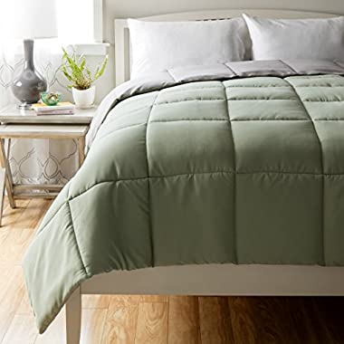 All Season Full Queen Comforter - Down Alternative Hypoallergenic Sage Green-Grey Reversible Duvet by Cheer Collection