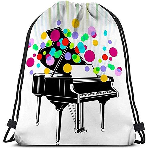 BOUIA Gym Trekkoord Tassen Lichtgewicht Canvas Dans Tassen Rugzak Sport grand piano concert Dreamy