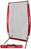 PowerNet I-Screen with Frame and Carry Bag (Red) | Portable Baseball Pitcher...
