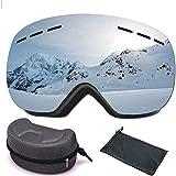 Dentuso Gafas Esqui Mujer Hombre Protección UV 400 Antivaho Gafas de Snow con Lentes Intercambiables Esféricas Sin Marco para Esquí Snowboard - Plata