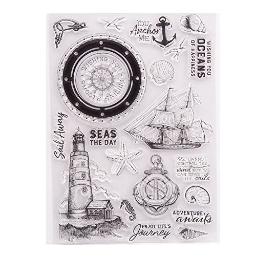 LZBRDY 5.9 by 8.3 Inch Sailing Ship Lighthouse Anchor Rudder Starfish Clear Stamps for Card Making Scrapbooking Birthday Christmas Holiday Journey Craft Stamps