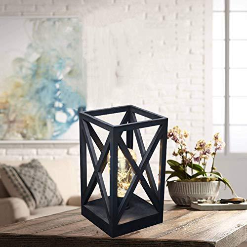 Lámpara de mesa con forma de jaula cuadrada, de estilo retro, inalámbrica, con bombillas alimentadas por pilas, para interiores y exteriores (negro)