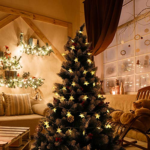 OSALADI Cadena de luces LED de color blanco cálido, 50 luces LED, funciona con pilas, con mando a distancia para la decoración, fiesta de cumpleaños (5 3 metros)