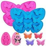 SENHAI Paquete de 4 moldes de silicona de mariposa –mini moldes de mariposa y fondant de silicona...