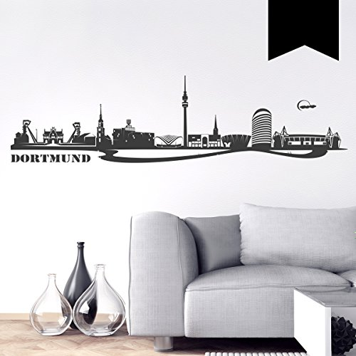 WANDKINGS Wandtattoo - Skyline Dortmund - 150 x 39 cm - Schwarz - Wähle aus 6 Größen & 35 Farben
