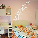LSMYM Juego de decoración de habitación temática de playa de 30 calcomanías de pared de concha de playa de mar de lujo Pegatinas de pared de concha de mar de vinilo Juego de 30 de color marrón