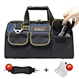AIRAJ 15 in Waterproof Tool Bag for Men, Top Wide Mouth <span class='highlight'>Tools</span> Tote Bag for <span class='highlight'>Hand</span>/<span class='highlight'>Power</span>, with Inside/Outside Pockets for Tool Storage, Adjustable Shoulder Straps Large Capacity Kit (Blue & Black)