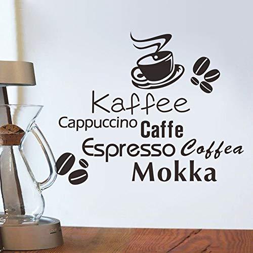 Wandtattoo Kinderzimmer Kaffeetasse Kaffeebohne-Cappuccino-Espresso Coffea Mokka für Kaffeestube-Küche