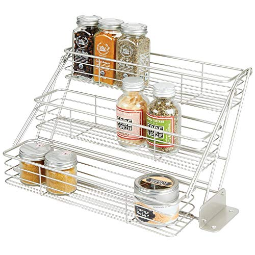 mDesign Modern Metal 3 Tier Pull Down Spice Rack - Easy Reach Retractable Large Capacity Kitchen Storage Shelf Organizer for Cabinet and Pantry, Holder for Seasoning Jars, Bottles, Shakers - Satin