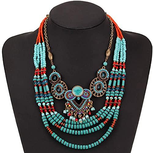 AMOZ Collar Grueso de Perlas de Arroz de Color Turquesa de Moda, Gargantilla de Declaración Tribal Étnica Vintage Estilo Retro Joyería de Fantasía Turca para Mujer Caja de Regalo