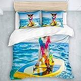 TARTINY Bedding Juego de Funda de Edredón Perro navegando en una Tabla de Surf