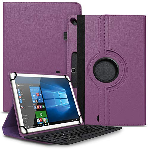 Tablet Hülle kompatibel für BMAX MaxPad i10 Tasche Schutzhülle Bluetooth Hülle Universal Keyboard Cover Standfunktion 360° Drehbar, Farben:Lila