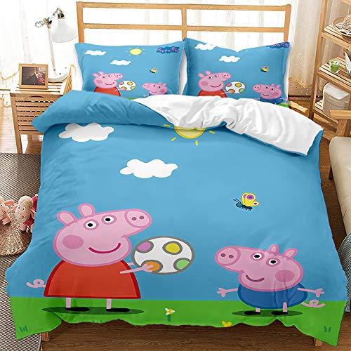 Juego de cama infantil de Peppa Pig 100 % microfibra, funda nórdica rosa, con funda de almohada (A-03, 150 x 200 cm (50 x 75 cm)