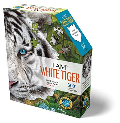 MADD 6004-IAMMWhiteTiger CAPP 886004 Shape Puzzle Mini, Konturpuzzle weisser Tiger, 300 Teile