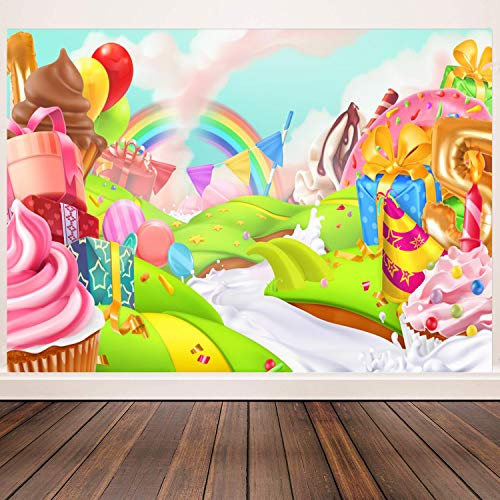 CHAIYA 5x3ft Sweet Candyland Backdrop Donut Lollipop Background for Candyland Party Decoration Photo Booth Banner 105