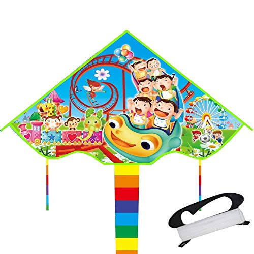 Kite children outdoor kite cartoon pattern breeze easy flying kite parent-child fitness toy-Baby paradise 100 meters line board