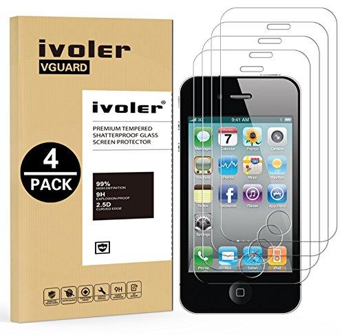 iVoler [4 Pack] Pellicola Vetro Temperato per iPhone 4 / 4S, Pellicola Protettiva, Protezione per Schermo