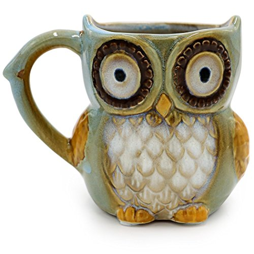 Greencherry Kaffeetasse Eule, Tee, niedlich, Zyan, 341 ml cyan