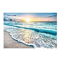 Ychomecp-アートパネル 19.7x27.6in(50x70cm)x1pcs No Frame 北欧のモダンな海辺の日の出キャンバス絵画サンビーチ海の風景壁アートポスターリビングルームの写真鍬の装飾 フレームなし