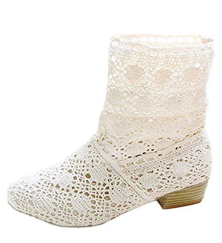 Minetom Femme Été Automne Mode Creux Dentelle Classics Courtes Bottes Femmes Bottine Bloc Talon Mid-calf Boots Blanc EU 39