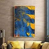 N / A Pintura sin Marco Moderna Pintura al óleo Abstracta Amarilla y Azul sobre Lienzo para Carteles y decoración de arteZGQ6644 30x45cm