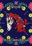 Henna's Artist Sketchbook: Henna Personalised Name A4 Sketchbook / Sketchpad / Drawing Pad / Workbook - Flower Skull Horse theme