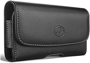 Wonderfly Horizontal Holster for OnePlus One, 2, 3, 3T or 5, a Large Leather Carrying Case with Belt Clip and Belt Loops, Fits The Phone with OtterBox Communter, Dual Layer Hybrid or Other Thick Case