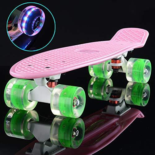 1-1 Fisch-Skateboard blinken Sie 4 Rad 60 mm Sicherheit Robust Rutschfest zum Kinder Mädchen Jungs Erwachsene Mit Geschenke,K