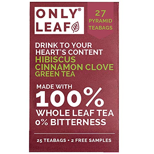 ONLYLEAF Hibiscus Cinnamon Clove Green Tea (27 Pyramid Tea...