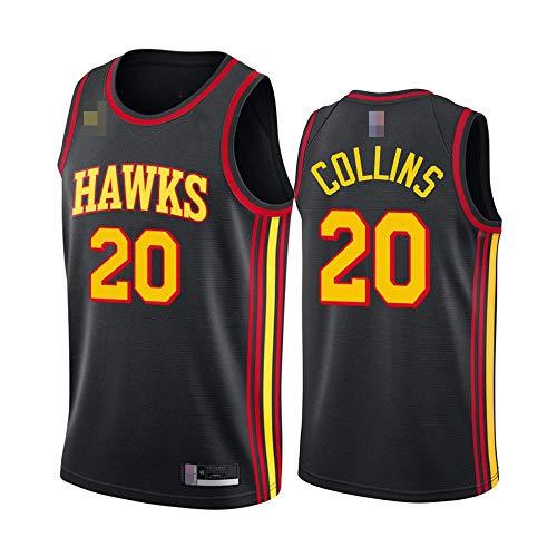 Jerseys De Baloncesto De Los Hombres, NBA Atlanta Hawks # 20 John Collins, Chaleco Transpirable Suelto Uniformes Classic Comfort Camiseta Sin Mangas Tops,Negro,L(175~180CM)