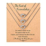 Best Friend Necklaces for 3 Forever Love Knot Infinity Matching Friendship Long Distance Necklace Jewelry Birthday Christmas Going Away Gifts for 3 Teens Girls Women Friends Sisters
