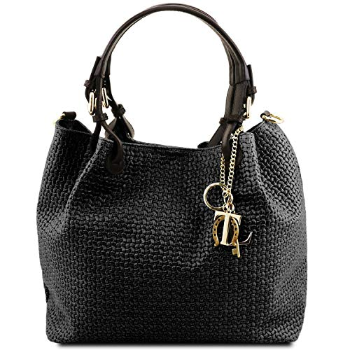 Tuscany Leather TL KeyLuck Borsa shopping in pelle stampa intrecciata Nero