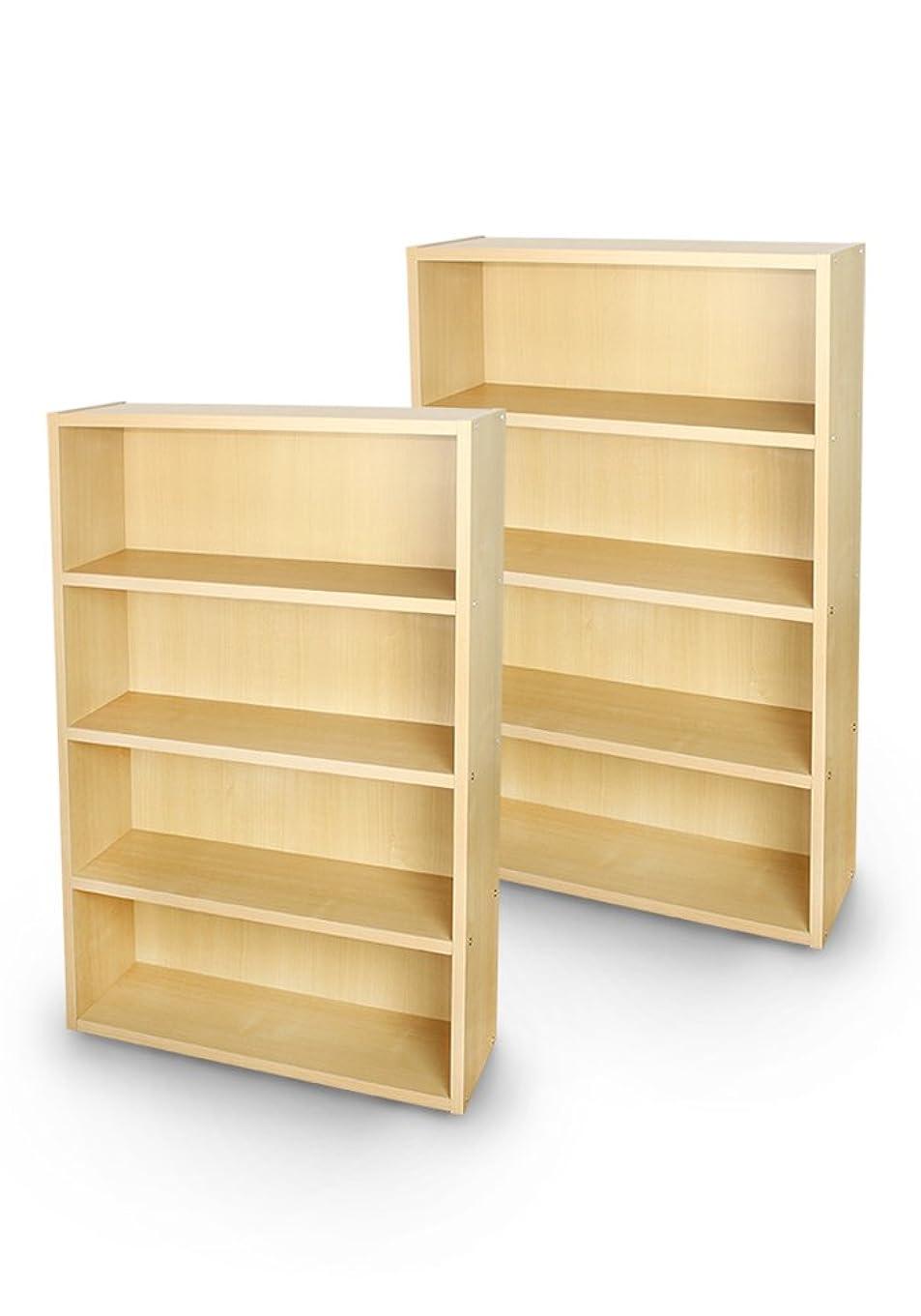 手首キャビンつまらない本棚 コミック収納ラック 4段 幅59.5×奥行20×高さ89cm 2個組 木製 日本製 TKM-7042