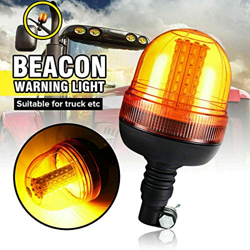 Riloer Luz de Advertencia de Baliza LED Ámbar, 12 V / 24 V LED Baliza Halógena Luz Intermitente Ámbar y Luz Intermitente Estroscópica de Emergencia con Base Flexible Ultra Brillante