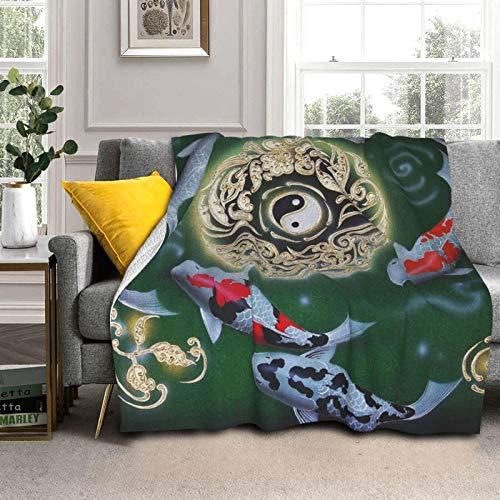 DPQZ Sherpa Manta de forro polar de 200 x 150 cm, diseño japonés Yin Yang Koi Fish reversible, súper suave y acogedora, manta de felpa para cama/sofá