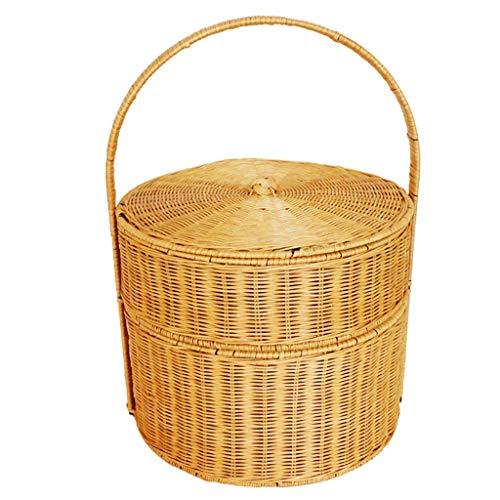 Cesta de Picnic de Dos Pisos de Rattan, portátil, con Tapa, Caja de Comida, para Comprar una Caja para Comprar Comida (Color : Yellow)