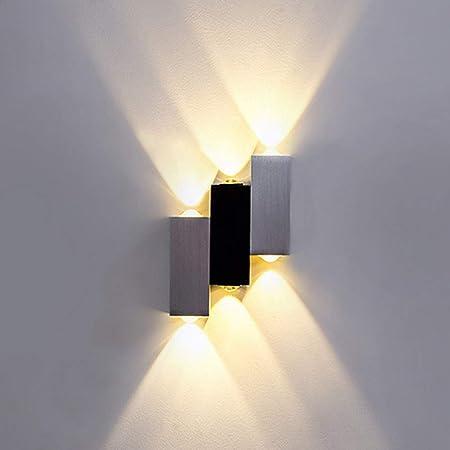 Lightess Applique Murale LED 6W Intérieur Lampe Murale Moderne Up Down en Aluminium Eclairage Décoration Lumière pour Chambre Bureau Lit Couloir Salon Hôtel Bar