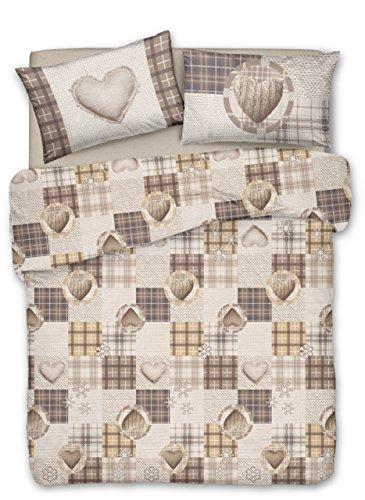 Smartsupershop Couette avec taies d'oreiller lit mis. 250 x 200 – Coeurs d 'Automne Beige – en Coton Fabriqué en Italie