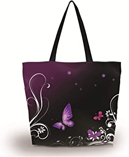 Baocool Gym Bag Shopping Tote Bags Shoulder Bag,Women Men Boys Girls Travel Beach Grocery Shoulder Bag with Zipper,Reusable Gym Picnic Work Daily Use Tote Bag (Purple Butterfly)