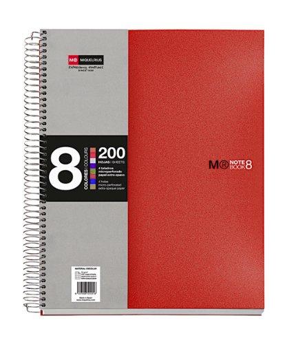 Miquelrius - Cuaderno A5, 200 hojas (franjas de 8 colores), Rayado Horizontal 7 mm, tapa de polipropileno color rojo