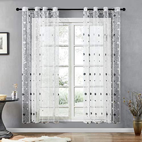 Topfinel Voile Gardinen mit Ösen Polka Dot Punktmuster Stickerei Vorhänge Transparent Tüll Dekoschal für Wohnzimmer Fenster Kinderzimmer 240x140cm in HxB 2er Set Weiß