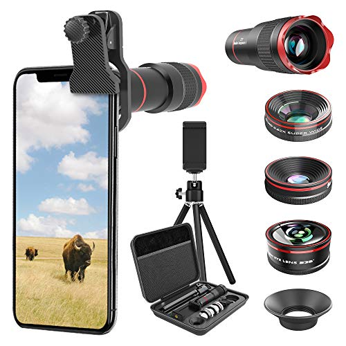 Selvim Phone Camera Lens Phone Lens Kit 4 in 1, 22X Telephoto Lens, 235° Fisheye Lens, 0.5X Wide Angle Lens, 25X Macro Lens, Compatible with iPhone 11 10 8 7 6 6s Plus X XS XR Samsung