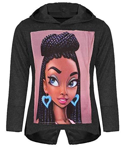 Kinder Mädchen Kapuzen Pullover Pulli Hoodie Sweatshirt 30231 Schwarz 146