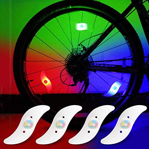yifengshun Luci per Ruote a LED per Bici con 3 modalità Fash Ciclismo Cerchio Pneumatico Luce Multicolor Avviso Luci al Neon Accessori per Biciclette Lampada Flash Impermeabile 4psc
