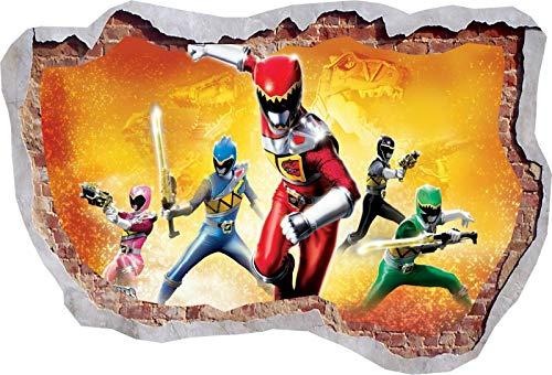 TOP PRINTS Power Rangers Dino Super Hero 3D Window Smashed Wall Sticker Poster Decal Mural Bedroom Art 471 (120x85cm)
