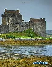 notebook: 8.5x11 cute dot grid journal | eilean donan castle scotland castle sea water old
