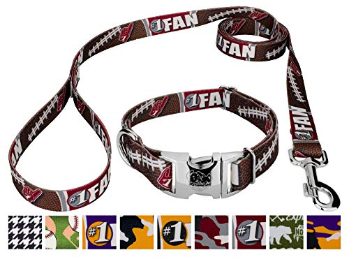 Country Brook Petz - Premium Crimson and White Football Fan Dog Collar and Leash - Sports and Athletics Collection with 9 Spirited Designs (1 Inch, Medium)