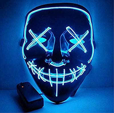 Moonideal Halloween Light Up Mask EL Wire Scary Mask for Halloween Festival Party Sound Induction Twinkling with Music Speed by Moonideal