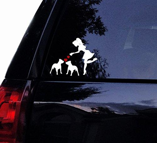"Tshirt Rocket Sassy Pit Lady Loves Her Pitbulls - Pitbull Pit Bull Dog Vinyl Car Decal, Laptop Decal, Car Window Wall Sticker (10"", White)"