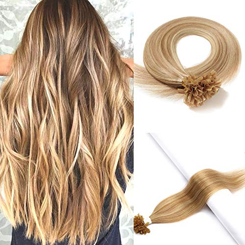 S-noilite Balayage Pre Bonded U Tip Hair Extension Human Hair 100% Remy Hair 20Inch 100g 200strands Fusion Keratin Nail Tip Hairpieces For Women #12/613 Golden Brown Highlighted Bleach Blonde